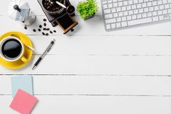 Modern White office desk table with supplies stock photo
