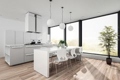 Modern white open plan kitchenette Stock Image