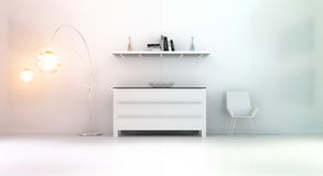 Modern white orange interior with chest of drawers and shelve 3D. Modern white orange interior with chest of drawers shelve light and chair 3D rendering Royalty Free Stock Image
