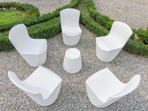 Modern white outdoor forniture. Modern white outdoor living in the garden Stock Photo