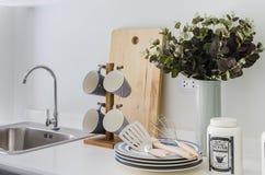 Modern white pantry with shelf Stock Image