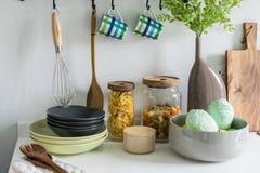 Modern white pantry with utensils Stock Photos