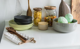Modern white pantry with utensils Stock Image