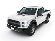 Modern white pick-up truck, suv vehicle. On white background 3d illustration stock illustration