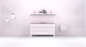 Modern white pink interior with chest of drawers and shelve 3D r. Modern white pink interior with chest of drawers shelve light and chair 3D rendering Stock Photo