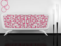 Modern white and pink sideboard indoor stock illustration