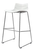 Modern White Plastic Bar Stool. Designer bar chair isolated on white Stock Images
