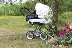 Modern white pram Royalty Free Stock Photography