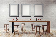 Modern pub with blank frames. Modern white pub or bar interior with blank frames on wall. Mock up, 3D Rendering Royalty Free Stock Photos