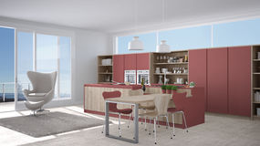 Modern white and red kitchen with wooden details, big window wit Stock Photos