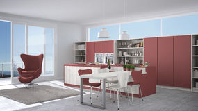 Modern white and red kitchen with wooden details, big window wit Stock Image