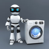 Modern white robot and washer Stock Photos