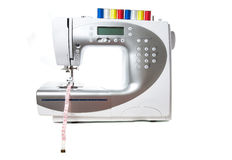 Modern white sewing machine Royalty Free Stock Photo