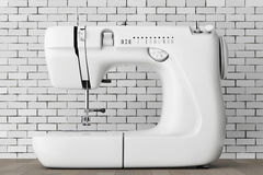 Modern White Sewing Machine. 3d Rendering Stock Image