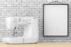 Modern White Sewing Machine in front of Brick Wall with Blank Fr Stock Photography