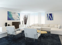 Modern white sitting room interior Royalty Free Stock Images