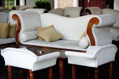 Modern white sofa with chairs Royalty Free Stock Image