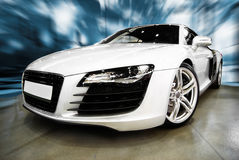 Modern white  Sports Car Stock Images