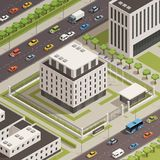City Government Buildings Isometric Composition. Modern white stone government building and surrounding  city center area with busy streets isometric composition Stock Photo
