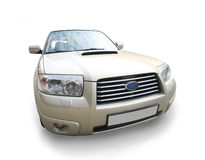 Modern white SUV it is isolated Stock Image