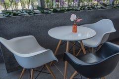 Modern white table in restaurant before service . Modern white table in restaurant before service Stock Photos
