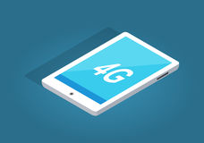 Modern White Tablet with 4G Function Illustration. Modern white tablet with 4G function on blue background. Modern technologies vector illustration. Must have Stock Photography