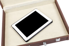 Modern white tablet pc in briefcase Royalty Free Stock Photos