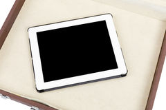 Modern white tablet pc in briefcase Stock Photography