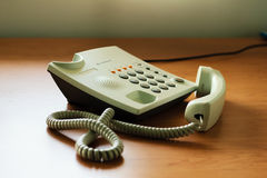 Modern white telephone Stock Image