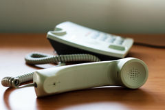 Modern white telephone Stock Photography