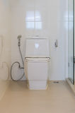 Modern white toilet bowl in bathroom Stock Photography