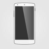 Modern white touchscreen cellphone. Stock Photo