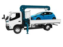 Modern white tow truck with blue crane with loaded car in trailer 3d render on white background no shadow. Modern white tow truck with blue crane with loaded car vector illustration