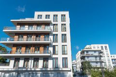 Modern white townhouses in Berlin Royalty Free Stock Images