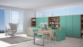Modern white and turquoise kitchen with wooden details, big wind Royalty Free Stock Image