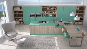 Modern white and turquoise kitchen with wooden details, big wind Stock Image