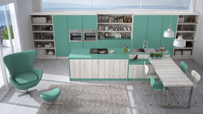 Modern white and turquoise kitchen with wooden details, big wind Royalty Free Stock Photo