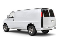 Modern white van - side tail view Royalty Free Stock Images