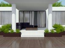 Modern white villa. stock images