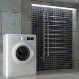 Modern White Washing Machine in Bathroom Interior. 3d Rendering. Modern White Washing Machine in Bathroom Interior extreme closeup. 3d Rendering stock photography