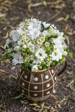 Modern white wedding bouquet. Made of daisys Stock Image