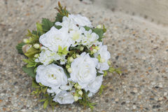 Modern white wedding bouquet. Made of roses Stock Photo