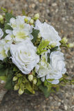 Modern white wedding bouquet. Made of roses Royalty Free Stock Images