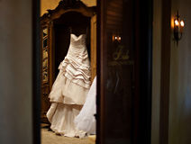Modern White Wedding Dress Royalty Free Stock Photography
