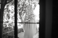 Modern White Wedding Dress Royalty Free Stock Image