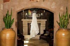 Modern White Wedding Dress Stock Photography