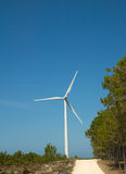Modern white wind turbine Stock Image