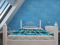 Modern white wrought iron double bed Royalty Free Stock Photos