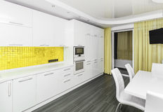 Modern white-yellow interior kitchen-dining room Stock Photography
