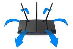 Modern WiFi Router with Glowing Blue Signal Arrows. 3d Rendering. Modern WiFi Router with Glowing Blue Signal Arrows on a white background. 3d Rendering Stock Image